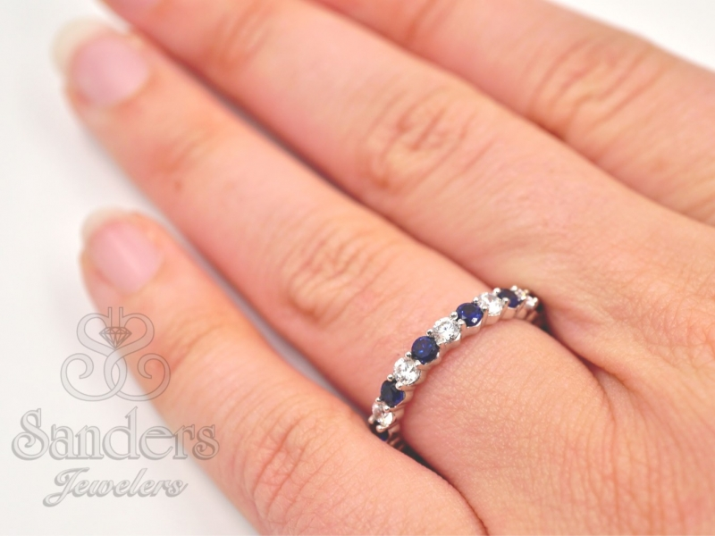 Bridal Jewelry - Sapphire and Diamond Eternity Band - image #3
