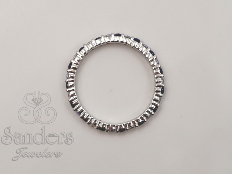 Bridal Jewelry - Sapphire and Diamond Eternity Band - image #2