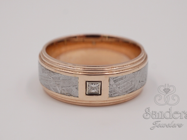 Men's - Rose Gold and Meteorite Gents Ring