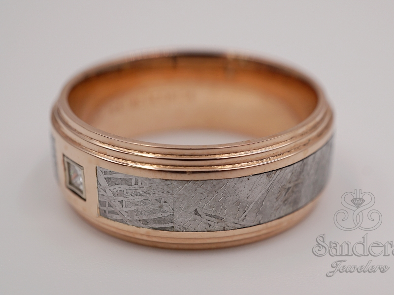 Men's - Rose Gold and Meteorite Gents Ring - image #2