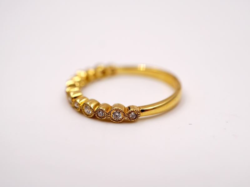Fashion Rings - Yellow Gold Bezel Set Round Station Band - image #3