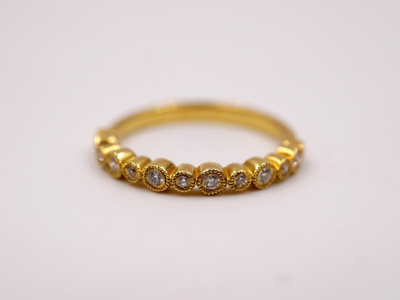 Fashion Rings - Yellow Gold Bezel Set Round Station Band - image #2