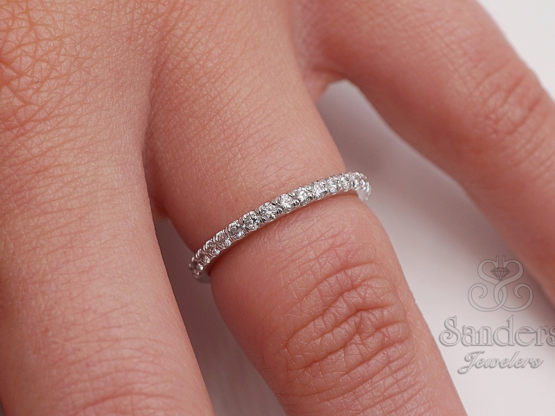 Bridal Jewelry - Platinum Diamond Band - image #2