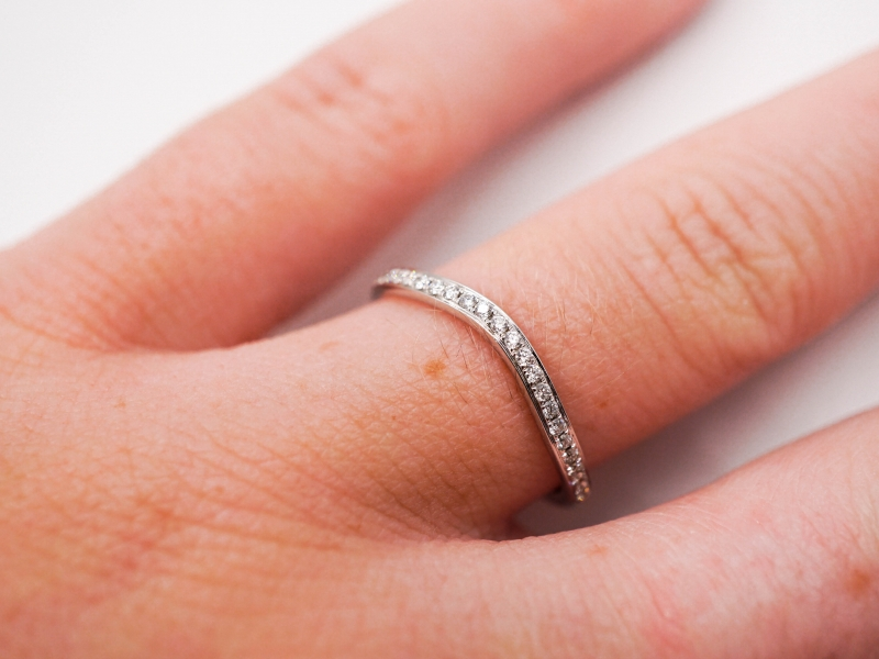 Bridal Jewelry - Curved Diamond Band - image #3