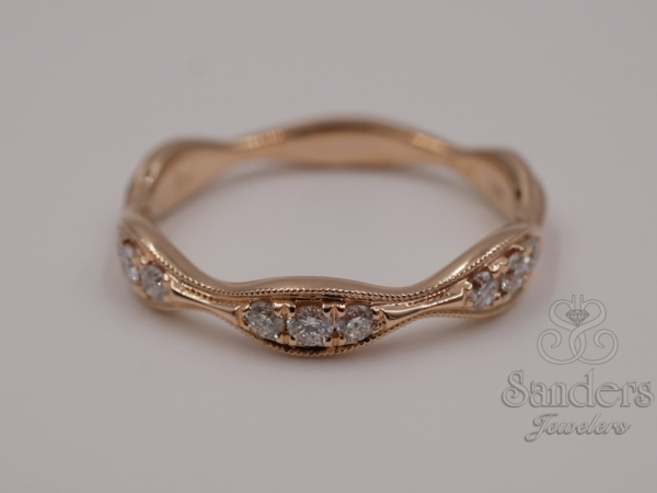 Rings - Wavy Diamond Stacker Band