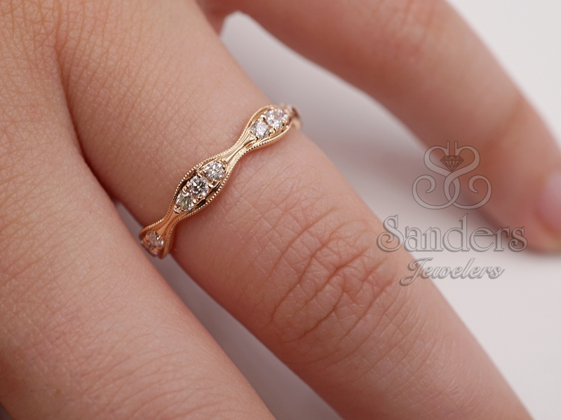 Rings - Wavy Diamond Stacker Band - image #2