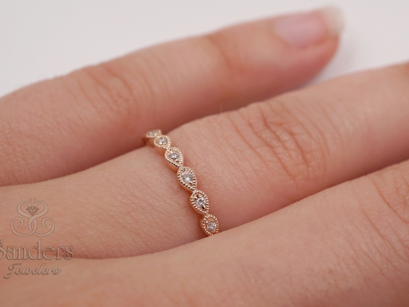 Rings - Teardrop Diamond Stacker Band - image #2