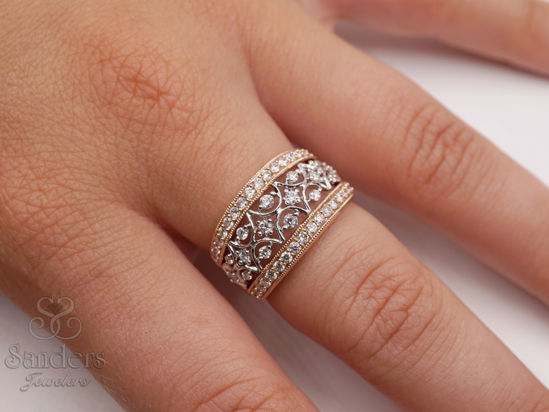 Rings - Two-Tone Diamond Fashion Ring - image #3