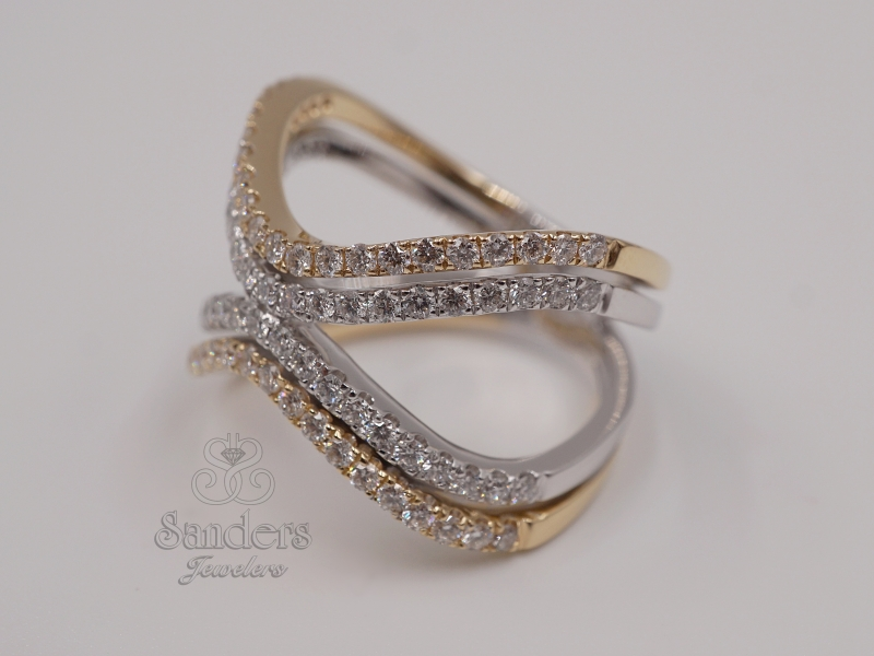 Rings - Two-Tone Diamond Fashion Ring - image #2