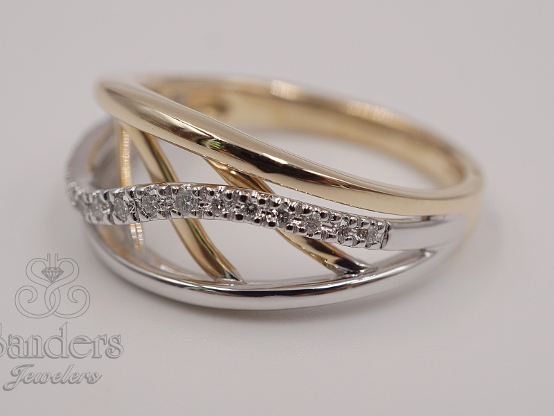 Rings - Two-Toned Fashion Wave Ring - image #2