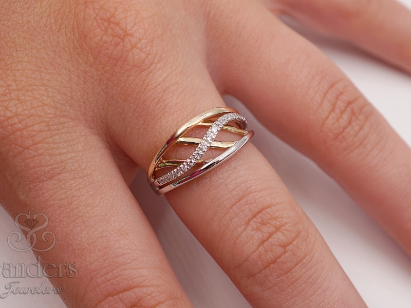 Rings - Two-Toned Fashion Wave Ring - image #3