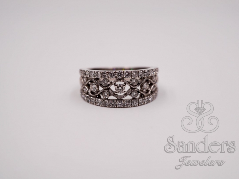 Rings - Wide Diamond Fashion Band - image #2