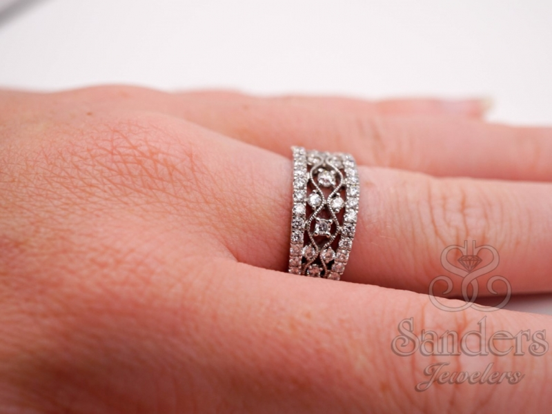 Rings - Wide Diamond Fashion Band - image #4