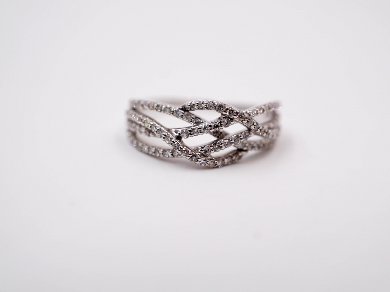 Rings - Criss-Cross Diamond Fashion Ring  - image #2