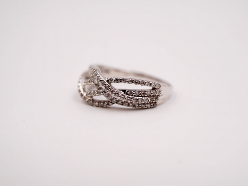 Rings - Criss-Cross Diamond Fashion Ring  - image #3
