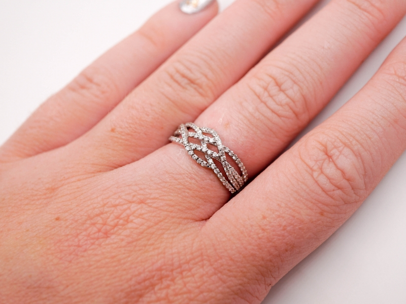 Rings - Criss-Cross Diamond Fashion Ring  - image #5