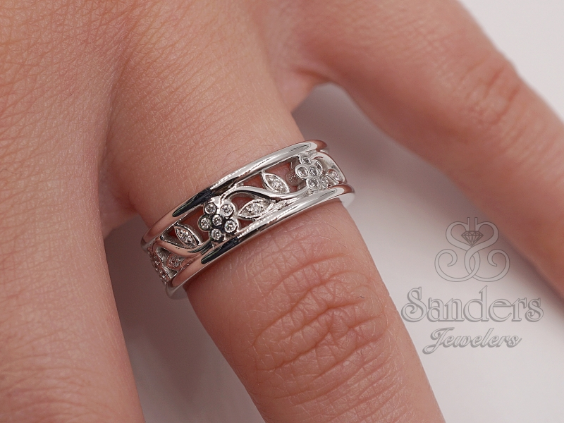 Rings - Floral Diamond Ring - image #2