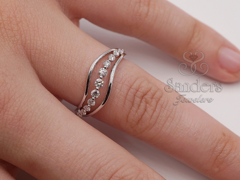 Rings - Wavy Fashion Diamond Ring - image 2