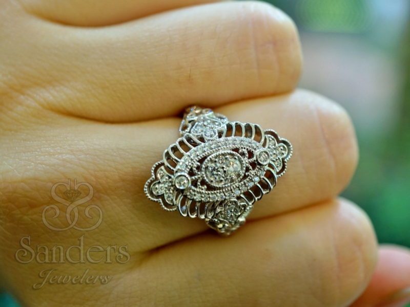 Rings - White Gold Cocktail Ring - image 2