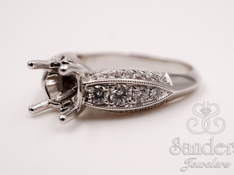 Bridal Jewelry - Three Sided Engagement Ring  - image #4