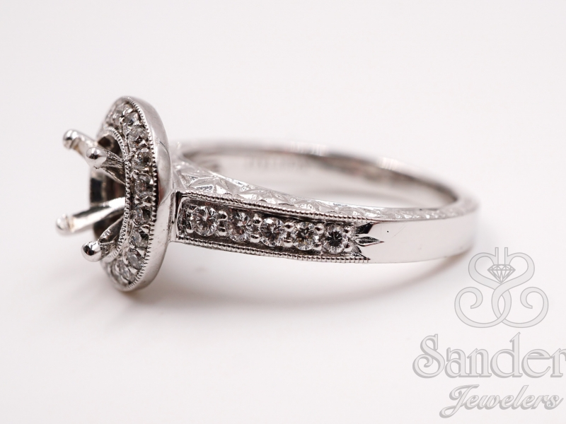 Bridal Jewelry - Vintage Style Round Halo Engagement Ring - image #2
