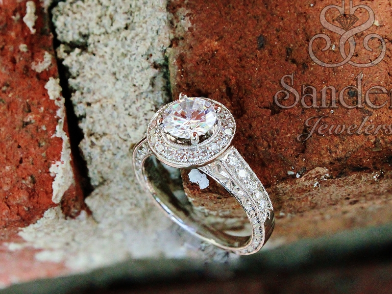 Bridal Jewelry - Vintage Style Round Halo Engagement Ring - image #4