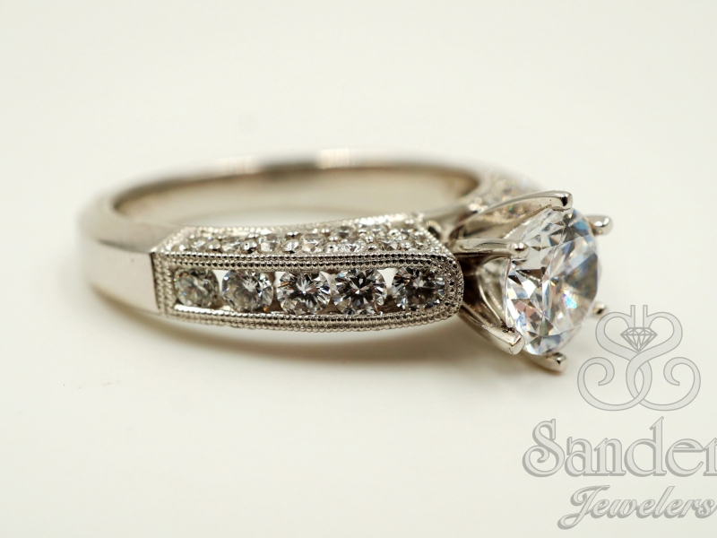 Bridal Jewelry - Bead and Bright Set Diamond Engagement Ring - image #4