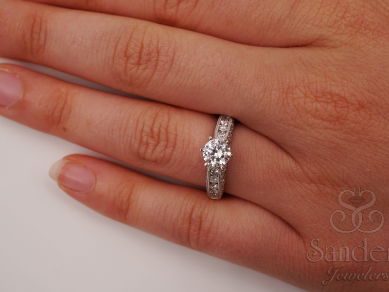 Bridal Jewelry - Bead and Bright Set Diamond Engagement Ring - image #5