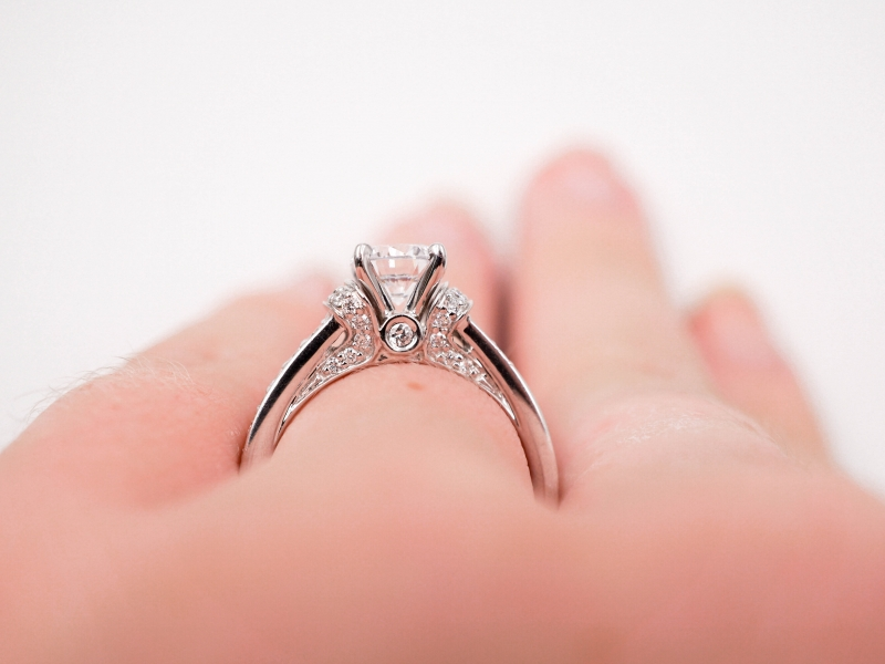 Bridal Jewelry - Diamond Accented Engagement Ring - image #5