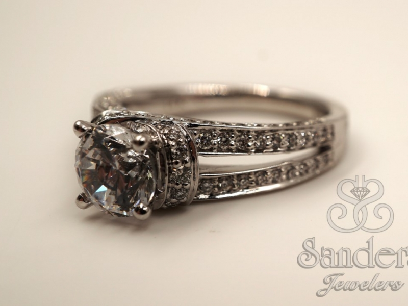 Bridal Jewelry - Open Shank Diamond Engagement Ring  - image #2