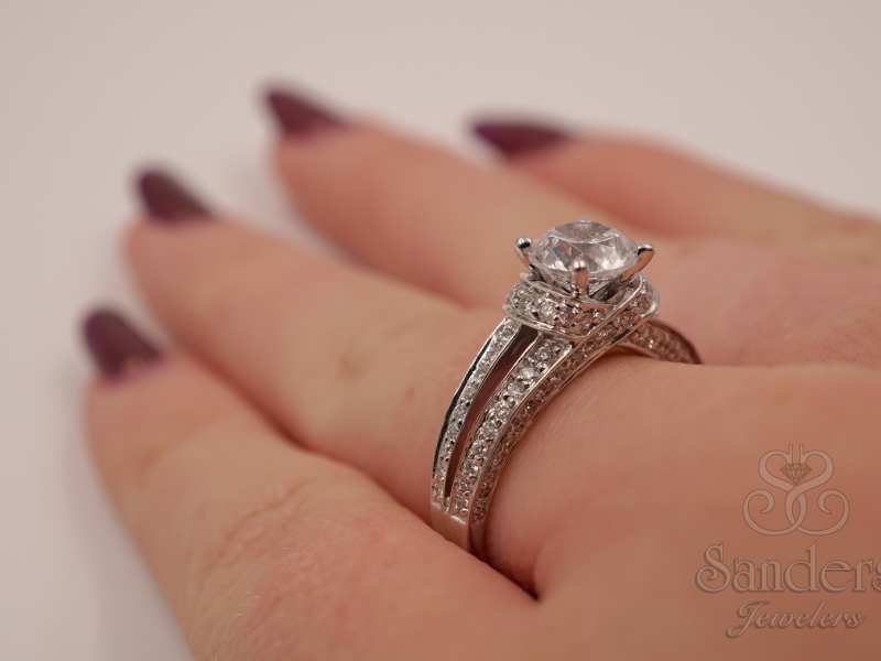 Bridal Jewelry - Open Shank Diamond Engagement Ring  - image #3