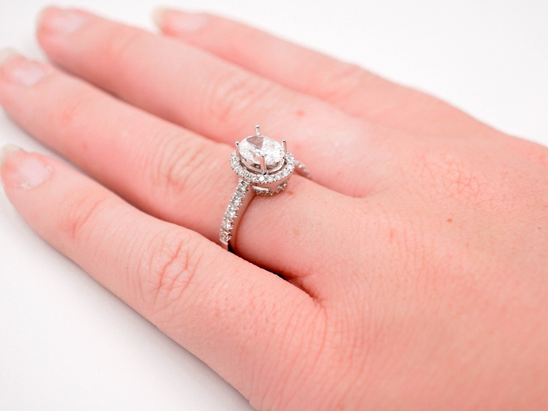 Bridal Jewelry - Oval Halo Diamond Engagement Ring  - image #4