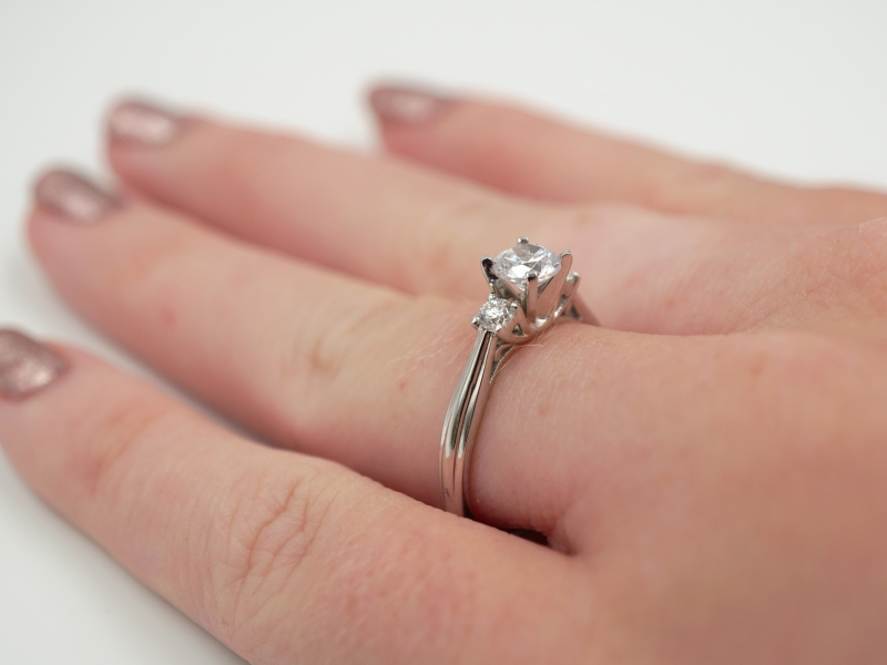 Bridal Jewelry - Three Stone Engagement Ring  - image #4