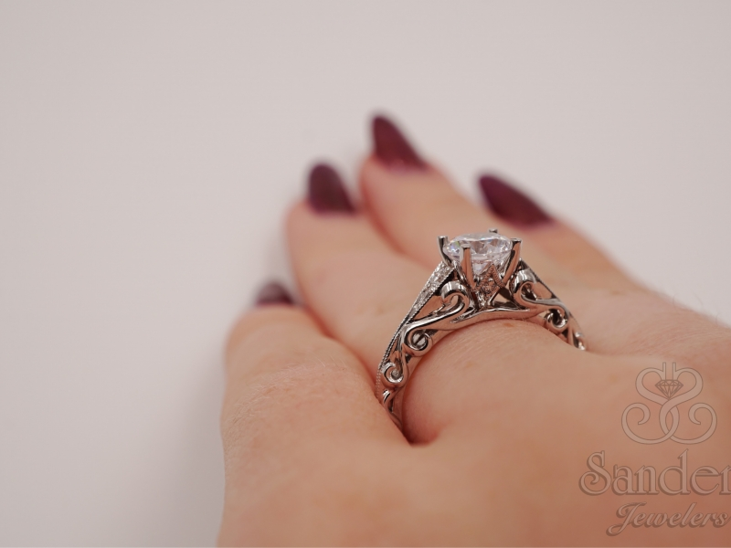 Bridal Jewelry - Scroll Engagement Ring  - image #4