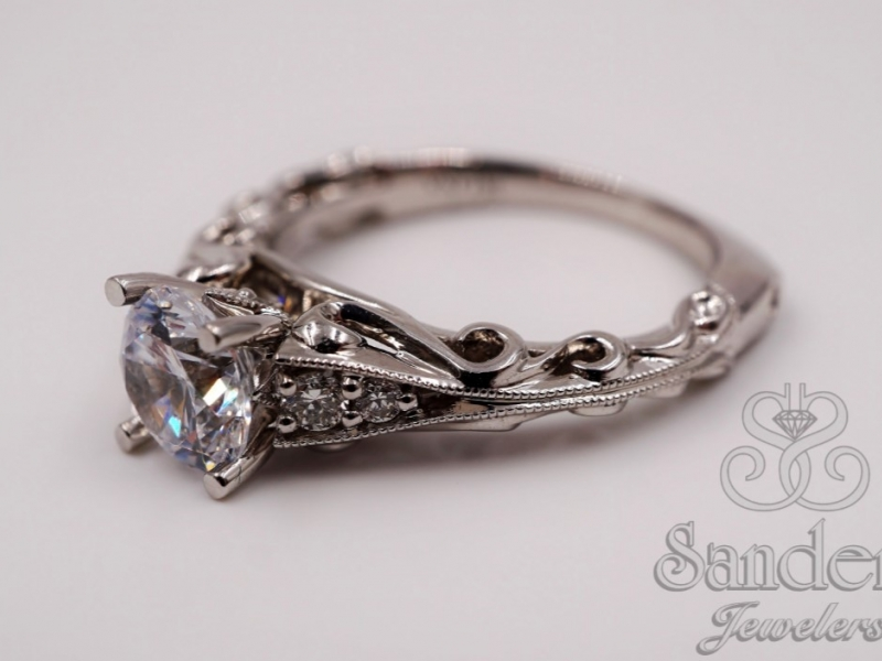 Bridal Jewelry - Scroll Engagement Ring  - image #2