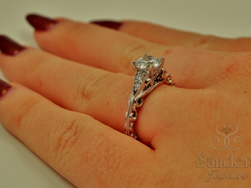 Bridal Jewelry - Scroll Engagement Ring  - image #5
