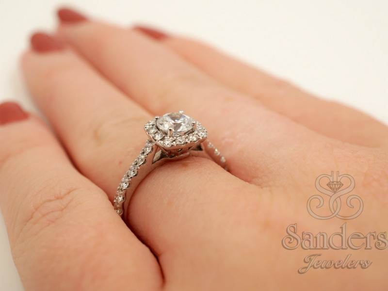 Bridal Jewelry - Cushion Halo Engagement Ring - image #4