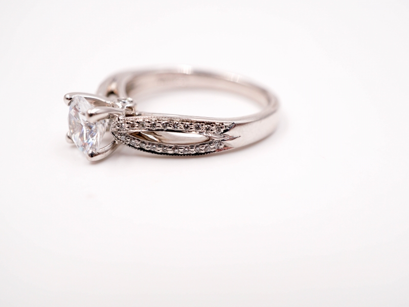 Bridal Jewelry - Ribbon Shank Engagement Ring  - image #2