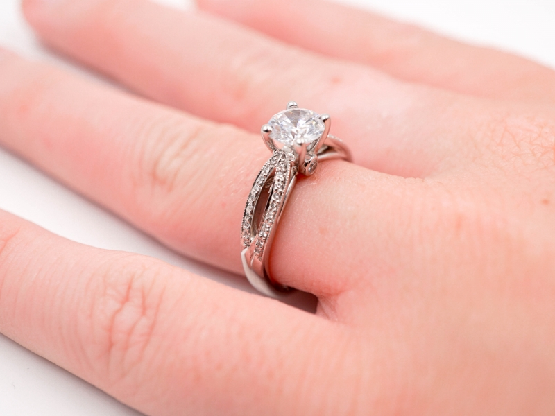 Bridal Jewelry - Ribbon Shank Engagement Ring  - image #4
