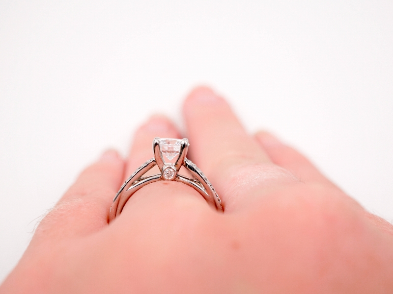 Bridal Jewelry - Ribbon Shank Engagement Ring  - image #5
