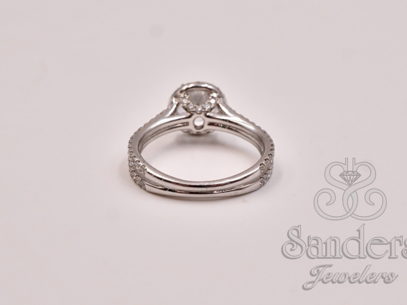 Bridal Jewelry - Double Split Shank Halo Engagement Ring  - image #4