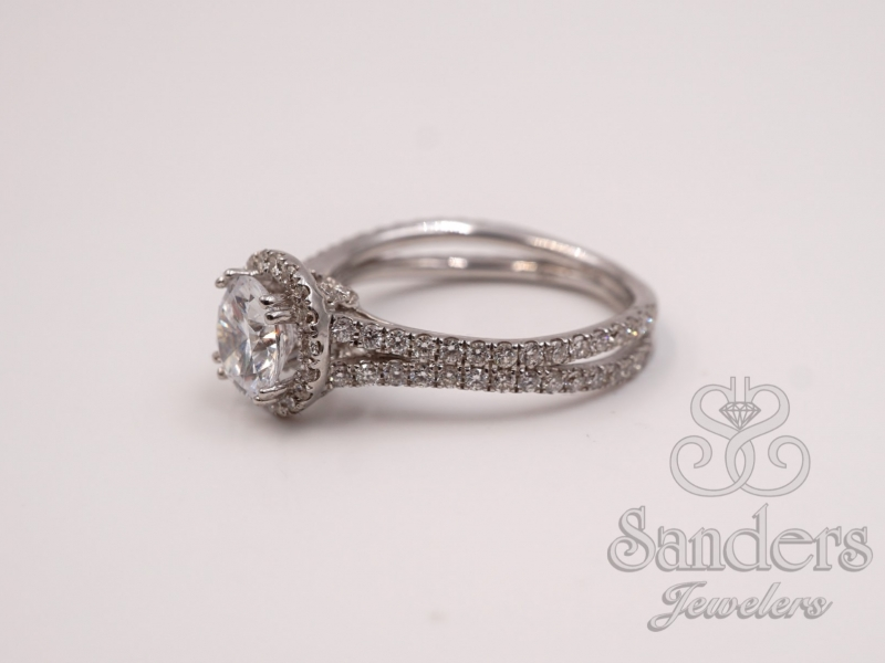 Bridal Jewelry - Double Split Shank Halo Engagement Ring  - image #2