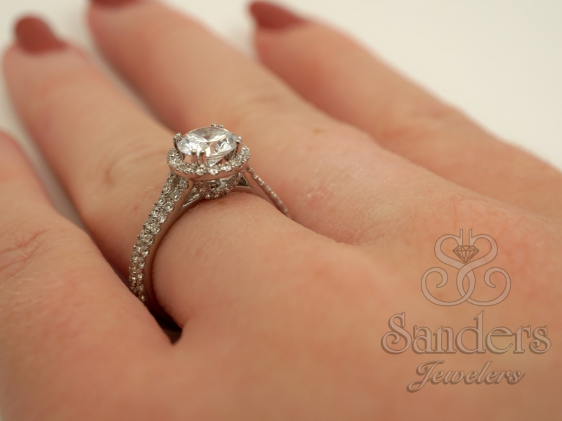 Bridal Jewelry - Double Split Shank Halo Engagement Ring  - image #5