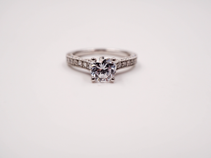 Bridal Jewelry - Bead and Bright Set Diamond Engagement Ring - image #2