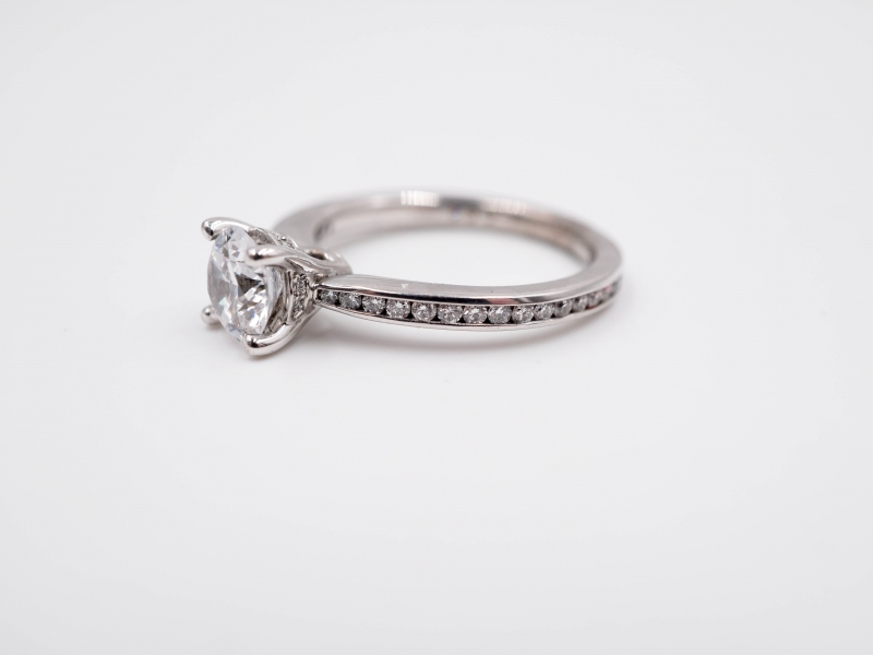 Bridal Jewelry - Tapered Channel Set Engagement Ring - image #2