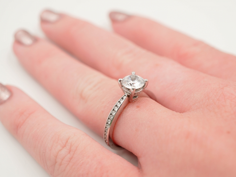 Bridal Jewelry - Tapered Channel Set Engagement Ring - image #5
