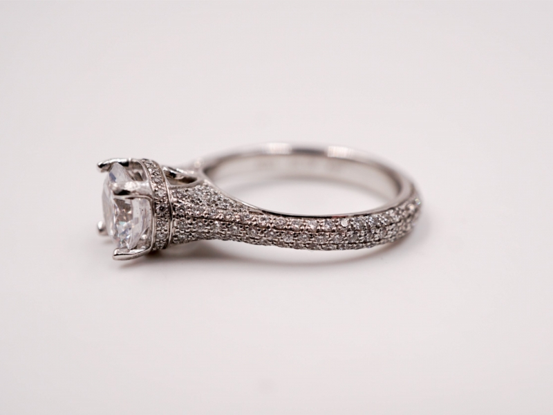 Bridal Jewelry - Cathedral Style Pave Set Diamond Engagement Ring - image #2