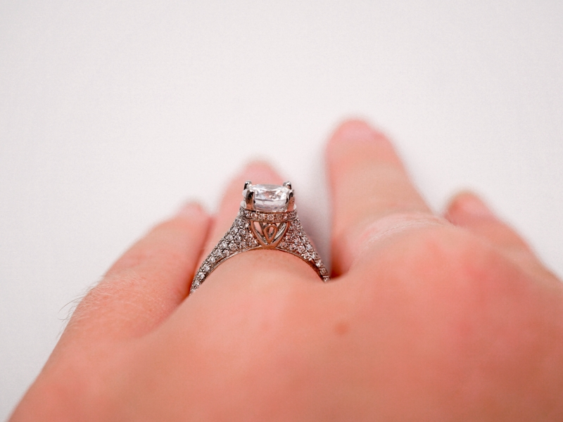 Bridal Jewelry - Cathedral Style Pave Set Diamond Engagement Ring - image #4