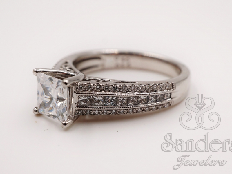 Engagement Rings - Modern Princess Cut Diamond Engagement Ring  - image #2