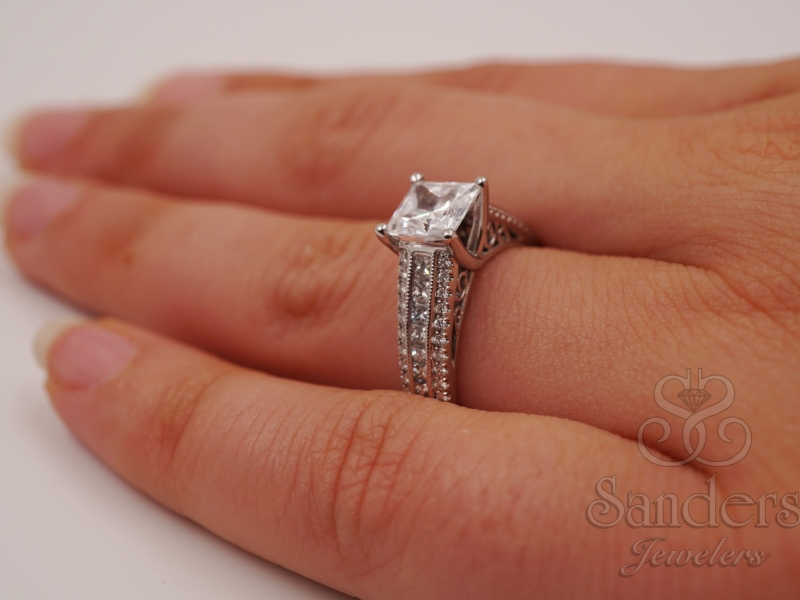 Bridal Jewelry - Modern Princess Cut Diamond Engagement Ring  - image 4